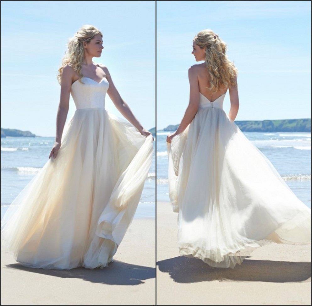 Fashion Custom Made Sweetheart Lace Pleated Bridal Gown Long Woman Tulle Backless Beach Wedding Dresses 2019