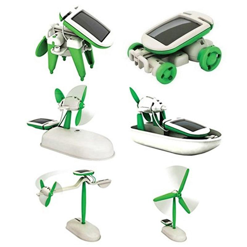 6 in 1 Solar Toys educational solar kit Power Robot Kit DIY Assemble Gadget Airplane Boat Car Train Model Science Gift for Kids