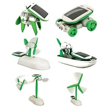 6 in 1 Solar Toys educational solar kit Power Robot Kit DIY Assemble Gadget Airplane Boat Car Train Model Science Gift for Kids