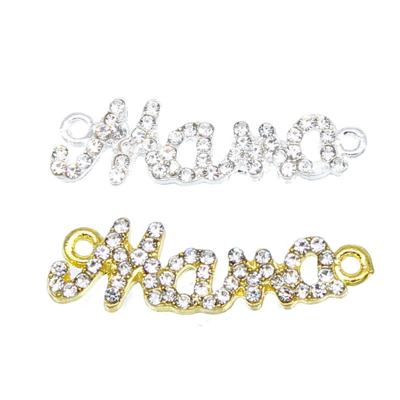 6pcs Manual Jewelry Components Alloy Rhinestones Silver Mama Charm Connector Accessories For Women Handmade Bracelet DIY Making