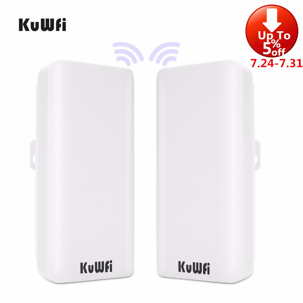 KuWFi 2 Pack 300Mbps Wireless CPE Router 2 4G Wireless Bridge RepeaterOutdoor Indoor Point to Point