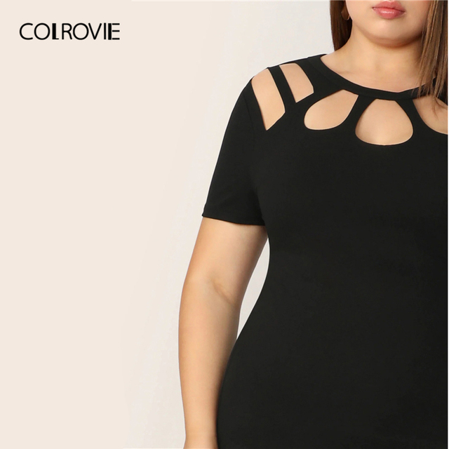 COLROVIE Plus Size Black Solid Cut Out Bodycon Elegant Dress Women 2019 Summer Short Sleeve Pencil Mini Office Ladies Dresses 3