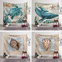 Marine Organism Wall Hanging Blanket Tapestry Beach Throw Towel Home Decorative Turtle Printed Tapestries Beach Mat