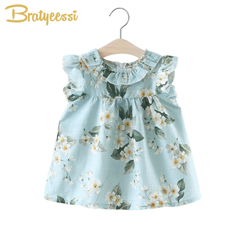 Casual Summer Baby Dress Cotton Floral Infant Girl Dresses Ruffles Toddler Baby Girl Clothes 3 Colors ruffles baby girl back cross dresses infant toddler girls sleeveless brown summer princess dress sundress clothes