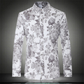 Chinese style personality flowers printing boutique long-sleeved shirt 2016 Autumn&Winter fashion casual quality men shirt M-5XL