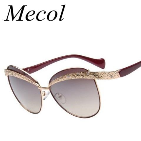 Mecol 2016 New Fashion TV Luxury Diamond Cat Eye Sunglasses Women Brand Designer Oculos Espelhado Lentes De Sol Mujer Gafas M211