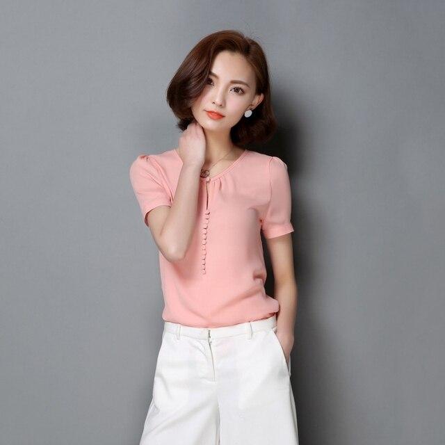 c6485e845 Blusa de chifón para mujer Casual talla grande blusas elegantes sólidas de  manga corta OL camisa