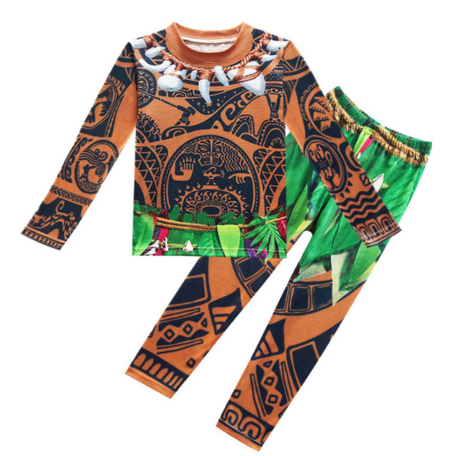 Moana Maui Cosplay Costume for Boys Pajamas Casual T Shirts Tops Tees and Pants Carnival Halloween Costume for Kids Clothes Set
