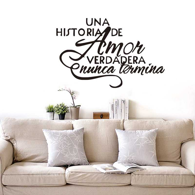 Free shipping Spanish bedroom wall stickers , Una Historia De Amor Verdadera Nunca Termina - Espanol Quote vinyl wall decals