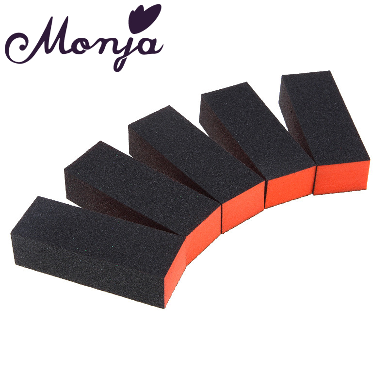 Monja 5 Pcs/Set Nail Art  Black UV Gel Polishing Sanding Sponge Buffing Buffering File Block Foam Sandpaper Manicure Tools