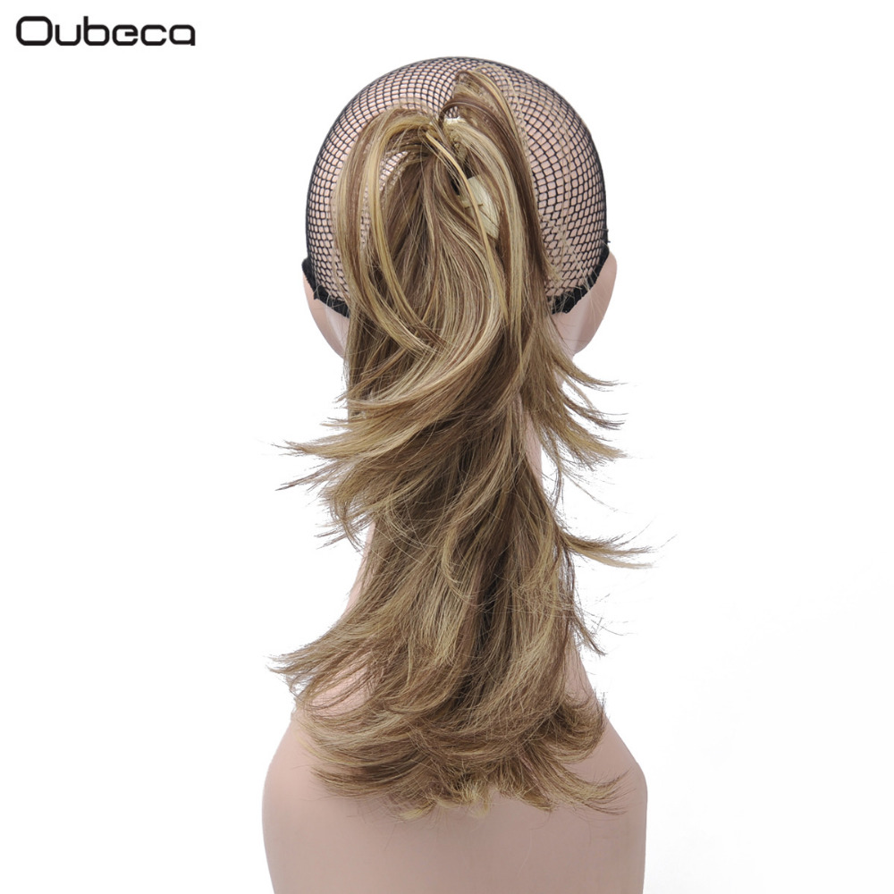 Oubeca Copper Line Claw Short Curly Ponytails Transformable Horse Tail Synthetic Hair Extensions For Women