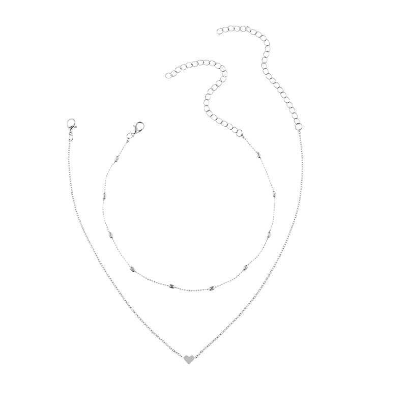 Nieuwe Mooie Stijl 2 Lagen Hart Verstelbare Ketting Multilayer Chain Choker Ketting Voor Gift 2 Stks/set