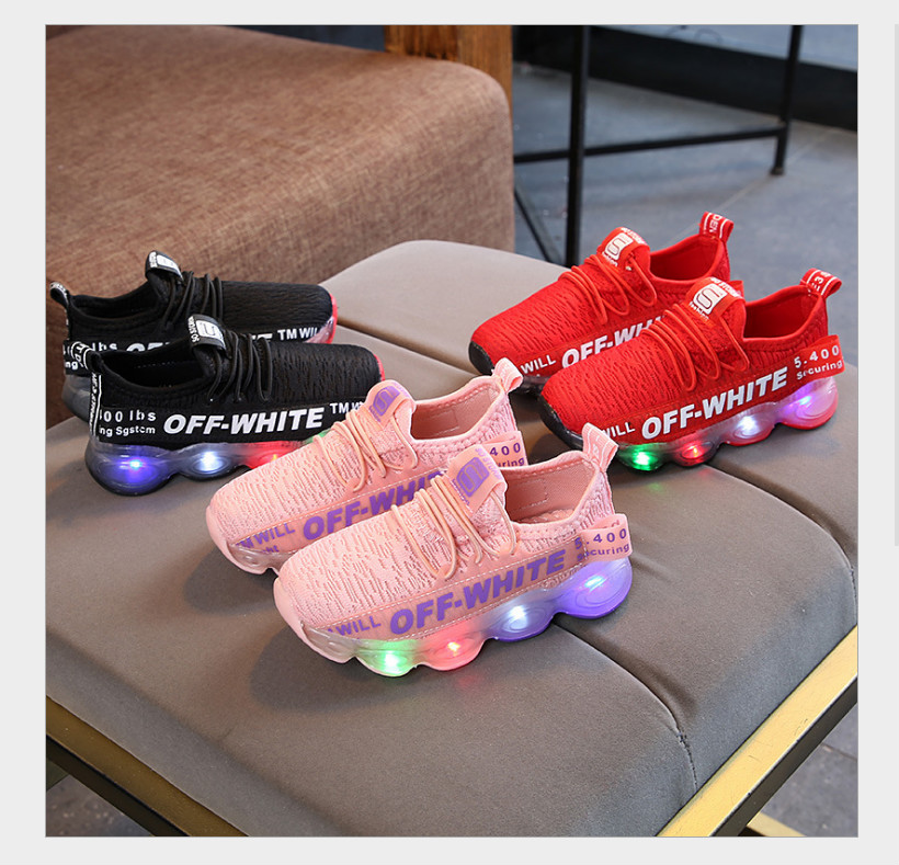 2018 new mesh fly woven sneakers LED light illuminating shoes boys and girls breathable shoes baby children's shoes