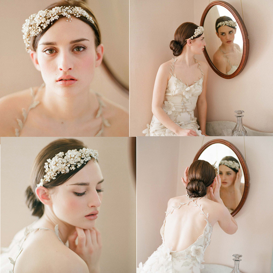 1pc Wedding Bridal Luxury Princess Tiaras Crown Crystal Peal Rhinestone Flowers Queen HeadBand Hair Ornament Jewelry Accessories