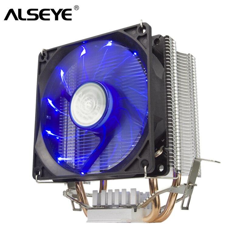 ALSEYE CPU Cooler 2 Heatpipe 90mm ventilador CPU procesador para LGA 1155/775/1366/ AM2/AM3/AM4