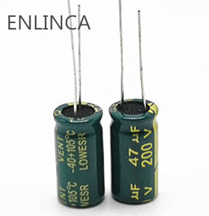 5pcs/lot 47UF 200v 47UF aluminum electrolytic capacitor size 10*20 H034