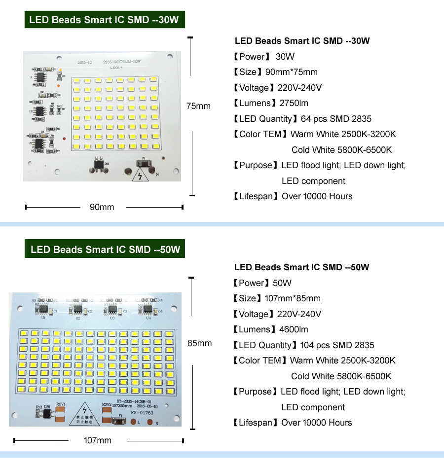 DIY LED SMD Bulb Lamp 10W 20W 30W 50W  Light Chip 230V Input Directly Smart IC Fit For DIY LED FloodLight Cold White Warm White