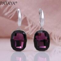 PATAYA New Austria Crystal Long Earrings Women Wedding Luxury Fine Fashion Jewelry White Gold Purple Square Oval Dangle Earrings