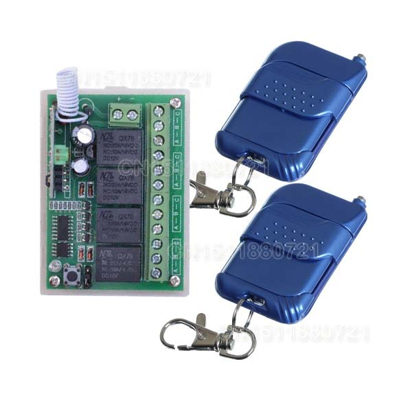 High Quality DC 12V 10A 4 CH Channel RF Wireless Relay Remote Control Switch 315 MHZ 433 MHZ Transmitter Receiver  high quality dc 12v 10a 1 channel wireless control rf 200m long range remote control 4pcs 315mhz switch sku 5367