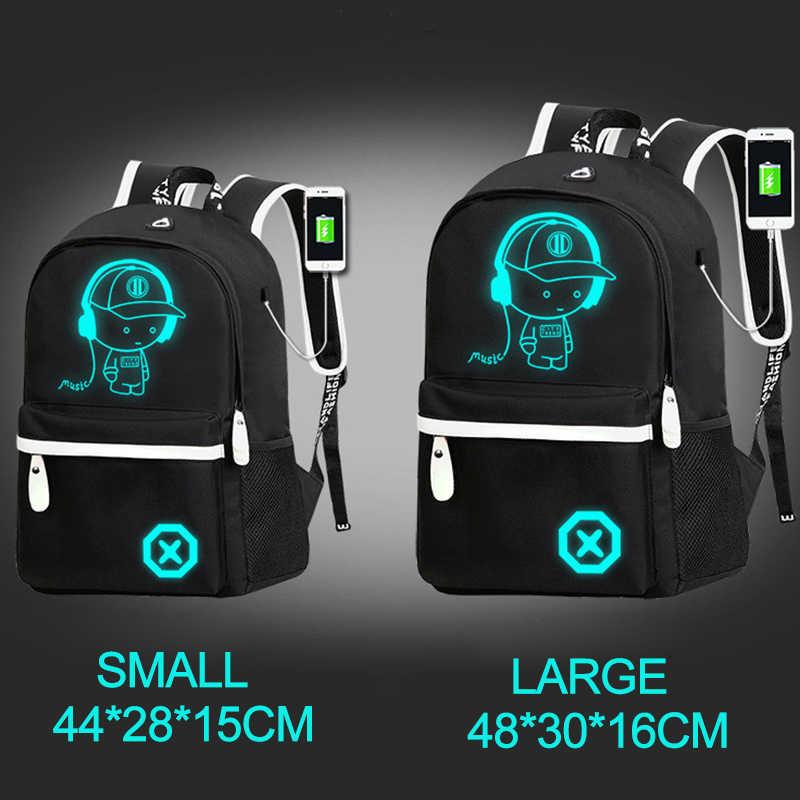 الحقائب المدرسية الرسوم المتحركة مضيئة حقيبة المدرسة للفتيات في سن المراهقة USB تهمة الأطفال على ظهره الاطفال مكافحة سرقة حقيبة كمبيوتر محمول على ظهره