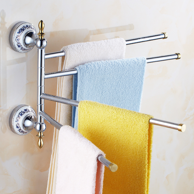 European Gold Towel Rack Copper Bathroom Towel Bar Gold Rotary Activities Towel Hang Porcelain Bathroom Towel Holders 3/4 Rods european copper gold towel rack toilet towel bar bathroom antique rotary towel bar antique activities towel 3 bar f91381