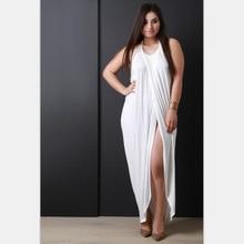 Большой Размеры 5XL сексуальная спинки Холтер Разделение женская одежда Для женщин свободные белые длинные платья макси Разделение Пляжные наряды плюс Размеры Vestidos