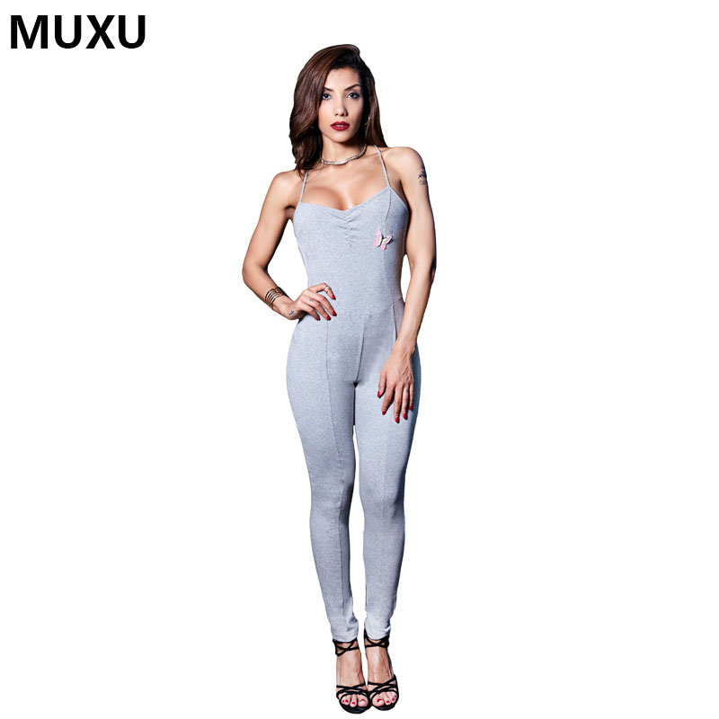 MUXU BLACK jumpsuit body feminino jumpsuits womens ladies ruffle backless europe and the united states jumpsuits rompers bodycon
