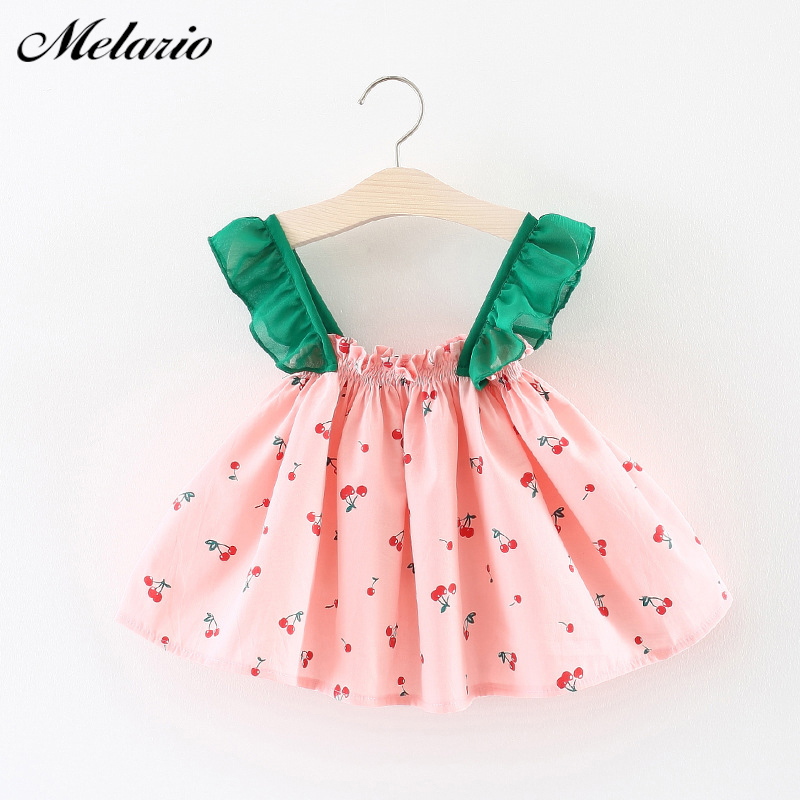 Melarie Baby Dresses 2018 Summer Baby Girl Slip Dress Cherry Cute Flying Sleeve Strap Children Clothes Princess Dress