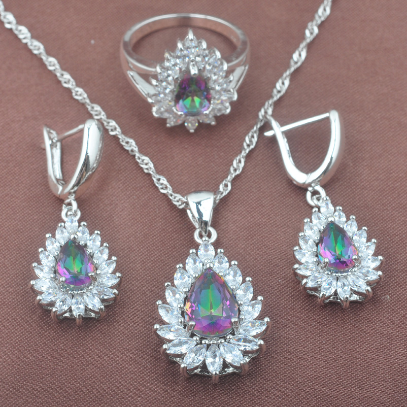 Female Rainbow Zirconia Water Drop Jewelry Set For Women Weedding 925 Sterling Silver Jewelry Sets TZ0571