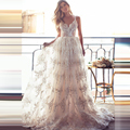 2016 Full Lace Wedding Dresses Sexy Spaghetti Neck Backless Wedding Gowns Sweep Train Beach Vintage Illusion Bridal Dress