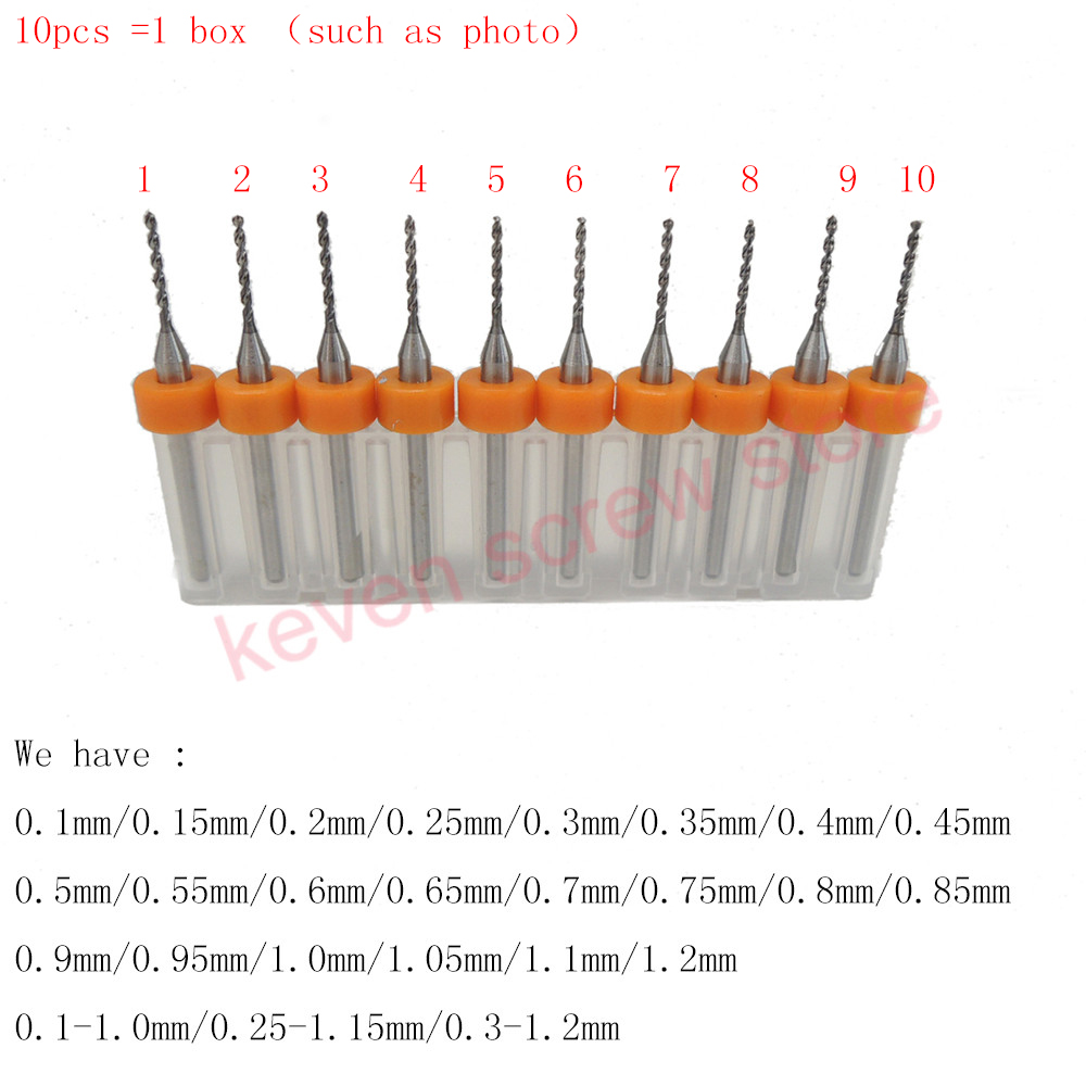 цена на 10pcs/Set 0.1mm-1.2mm High Quality Hard Alloy PCB Print Circuit Board Carbide Micro Drill Bits Tool 0.1mm-1.2mm for SMT CNC