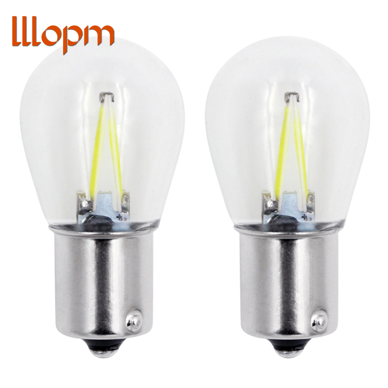 lllopm 2x 1156 Led P21w LED 1157 Bulbs Bau15s Lamp Ba15d Light COB Car Lights DRL 12V 6000K White DRL Reverse Turn Signal 650LM