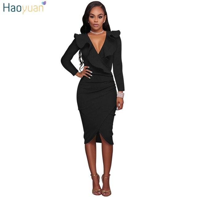4d1e1510e22 HAOYUAN Autumn Dress Women 2018 V Neck Elegant Yellow Black White Dresses  Sexy Clothes Vestidos Robe Long Sleeve Bodycon Dress