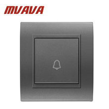 Free Shipping MVAVA Push Bottom Door bell switch,EU UK Standard Luxury Fire proof  Black color PC material panel , 110-250V
