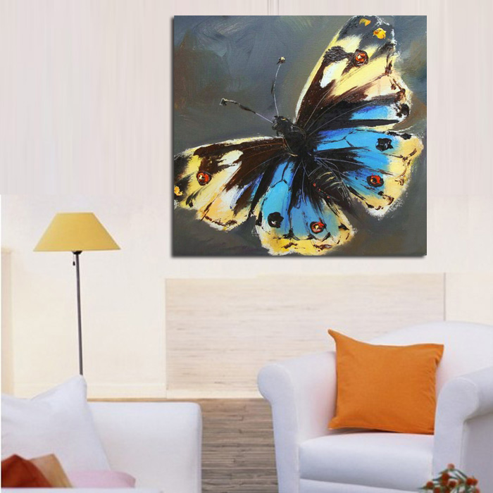100%Handpainted No Frame Canvas Black Butterfly Oil Painting Wall Art Modern Abstract Animal Art Picture on Canvas Home Decor no frame canvas
