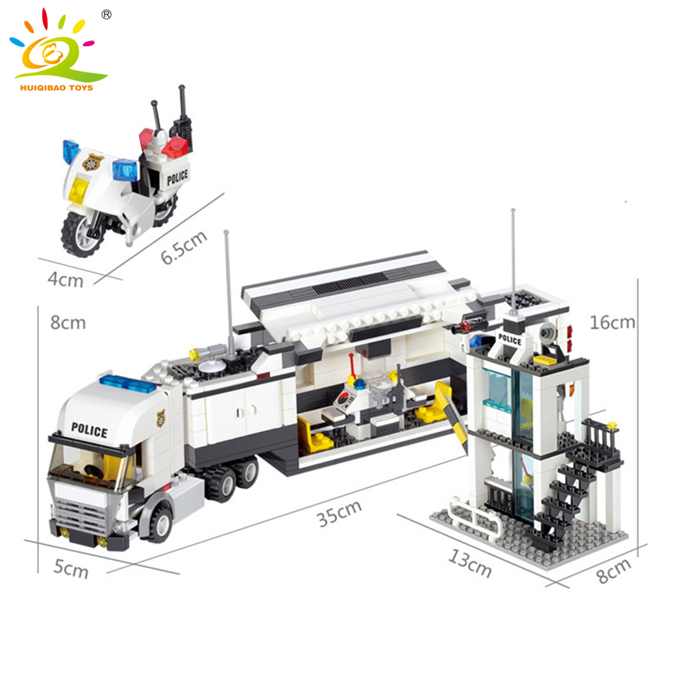 Image 5 - HUIQIBAO 536pcs Police Station Prison Trucks Building Blocks City Car Boat Helicopter policeman Bricks Children Toys KIDS GIFTtoys forblocks policeblocks police station -