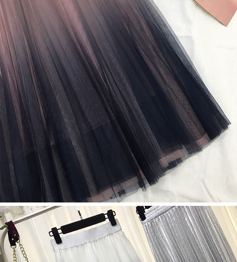 Gradient Color Tulle High Waist Pleated A-line Skirt