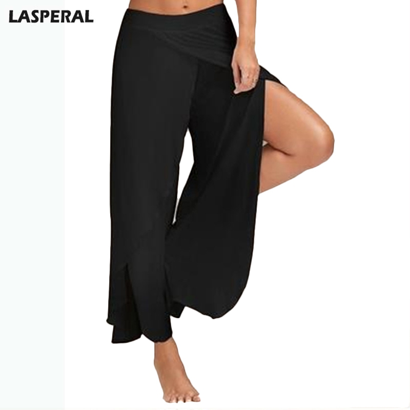 LASPERAL 2019 Summer Chiffon   Wide     Leg     Pants   Women Causal Irregular Side Split Trousers Female Solid Elastic Waist Loose   Pants
