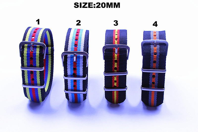 Uuesti saabunud - saadaval 1 tk. Kvaliteetsed 20MM NATO rihmad veekindlast nailonist kellarihmast 4 värvi - saadaval on soodne müük!