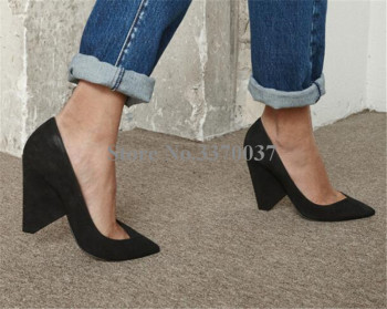 2018 Spring New Fashion Women Pointed Toe Black Suede Leather Spike Heel Pumps Formal Dress Shoes Office Ladies High Heels