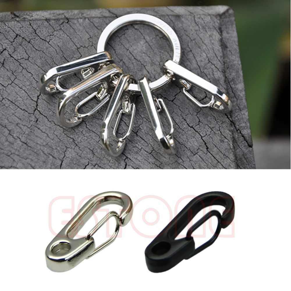 2ชิ้นสแตนเลสแยกพวงกุญแจที่สำคัญแหวนตะขอคลิปตะขอT15