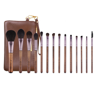 High Quality 14Pcs Makeup Brushes Set Natural Wood Goat Hair Soft Powder Blending Eye Nose Shadow Complete Brush Kit with Bag