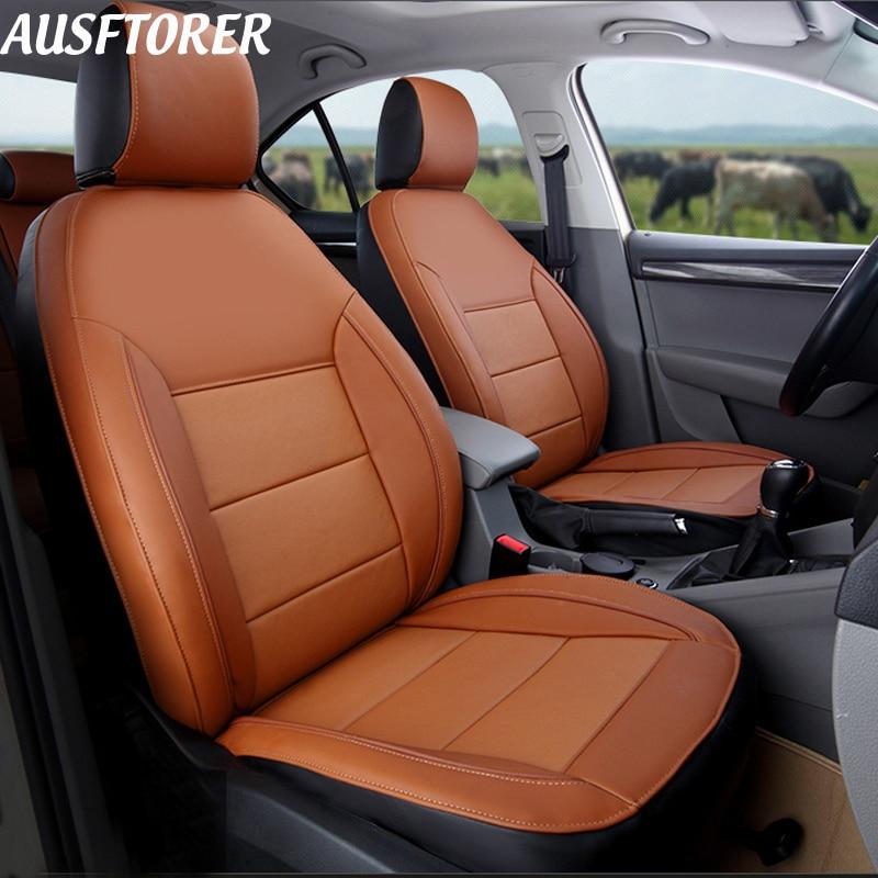 AUSFTORER Натуральная Кожа Пользовательские Чехлы для Volkswagen (VW) caravelle T5 автомобилей сиденья 8 и 9 мест аксессуары 25 шт.