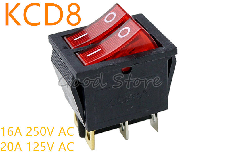 Switches Intelligent 1pcs Kcd8 6pin 16a 250v 20a 125v Red Double Light Switch Rocker Switch Waterproof On-off Boat Power Switch Good Companions For Children As Well As Adults