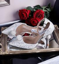 new wedding sequins stiletto heels bridal silver high heel shoes crystal pointed toe ball