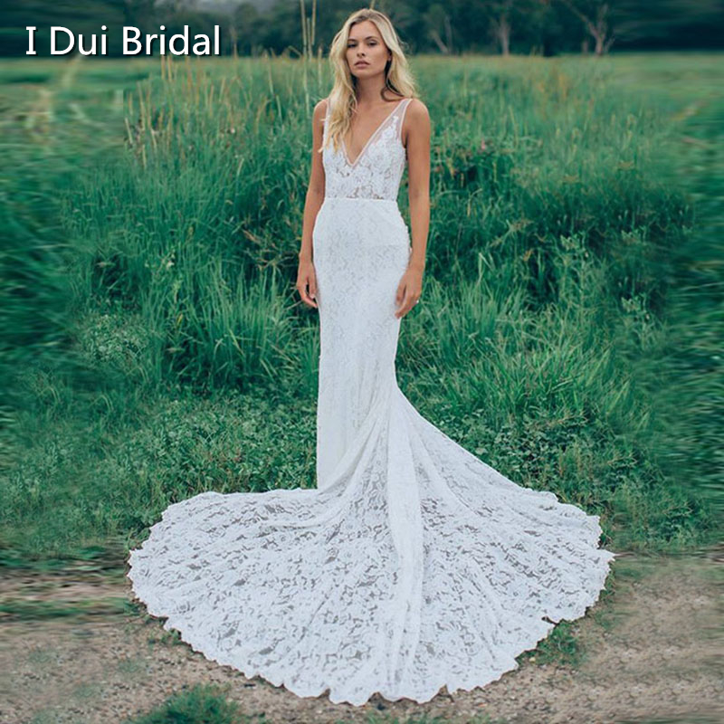 Sheath Lace Wedding Dress With Pockets V Neck Outdoor Boho Rustic Open Back Bridal Gown