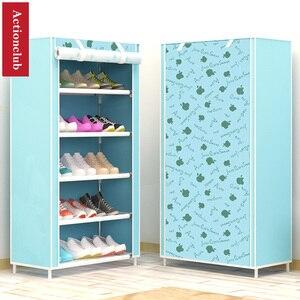 Image 3 - Actionclub sześć warstw włóknina przechowywanie szafka na buty pyłoszczelna półka na buty DIY półki do oszczędzenia miejsca Organizer na obuwie półka