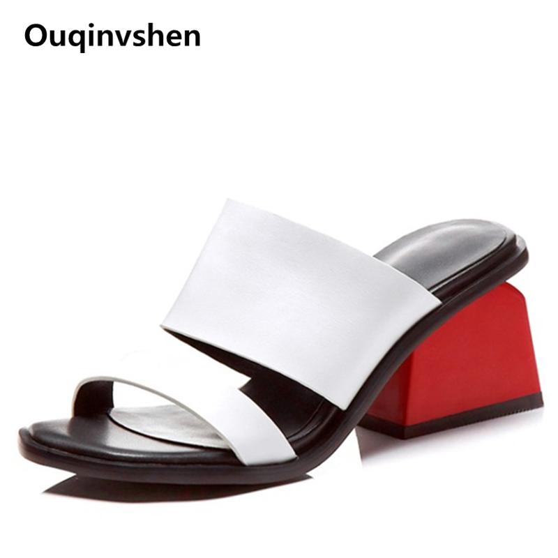 Ouqinvshen Strange Style High Heel Slippers Cow Leather Plus Size Summer Women Shoes Peep Toe Rubber
