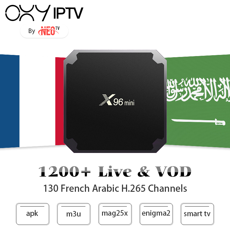 1 Year best French Arabic IPTV subscription with X96mini Android Smart TV Box for France Belgium