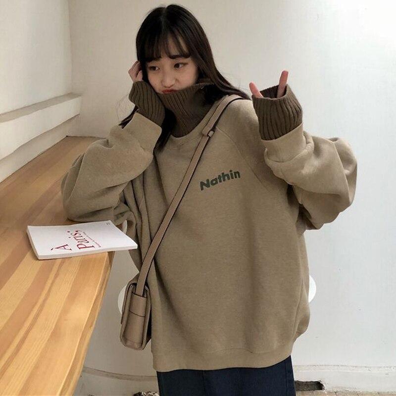 Women Autumn Winter Turtleneck Pullovers Sweatshirt With Velvet Female Letter Print Long Sleeve Oversized Hoodies Vintage
